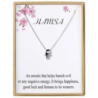 Sannyra Dainty Evil Eye Pendant Necklace with Message Card Wish Card for Women