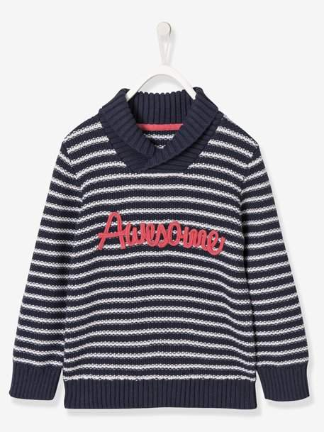 Boys Shawl Collar Top - blue dark striped