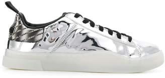 Diesel lace-up metallic sneakers