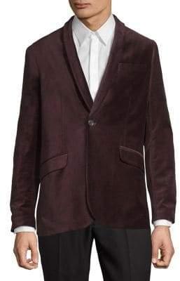 Perry Ellis Single-Button Velvet Jacket