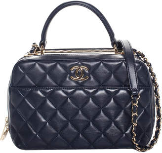 Chanel 2017 Navy Blue Quilted Lambskin Leather Trendy Cc Bowling Bag, Nwt