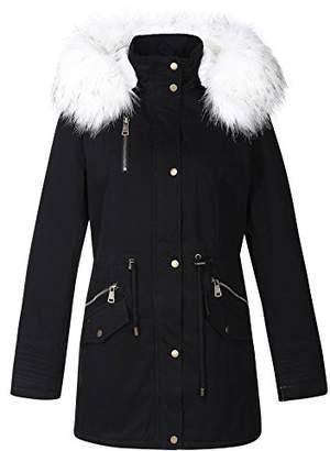 Bellivera Women's Parka Faux Fur Collar Twill Jacket