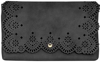 Moda Bridesmaids Stenciled Perforated Cut-Out Clutch with Attachable Chain Strap