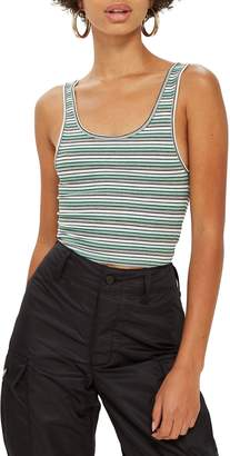 Topshop Leni Striped Rib Tank Top
