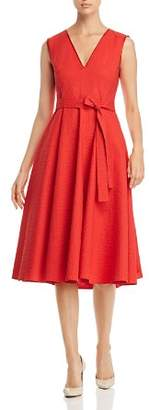 Paule Ka Textured Belted A-Line Midi Dress