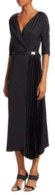 Prada Asymmetric Pleat Midi Dress