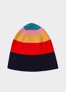Paul Smith Women's Multi-Coloured Striped Wool Beanie Hat