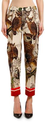 F.R.S For Restless Sleepers Owl-Print Straight-Leg Wool Pants