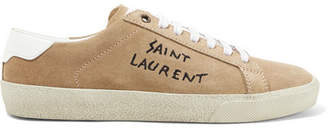 Saint Laurent Leather-trimmed Logo-embroidered Suede Sneakers - Beige