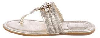 Christian Dior Metallic Leather Thong Sandals