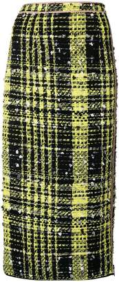No.21 cheked print pencil skirt