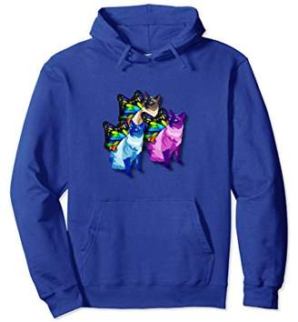 Three Psychedelic Cute Cats Butterfly Wings Cool Hoodie