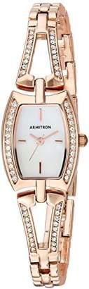 Swarovski Armitron Women's 75/5502MPRG Crystal Accented -Tone Open Bangle Watch