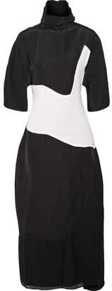 Acne Studios Dilona Patchwork Linen-blend, Cotton And Georgette Midi Dress - Black