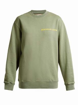 Eckhaus Latta - Round Neck Logo Print Cotton Sweatshirt - Womens - Khaki