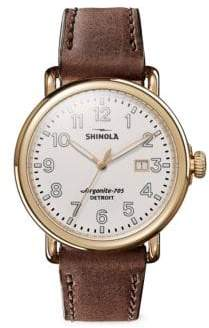 Shinola Runwell Leather Strap Watch
