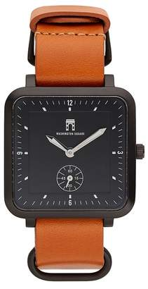 Washington Square Watches Men's Brown Strap Black Dial Watch, 38mm x 44mm