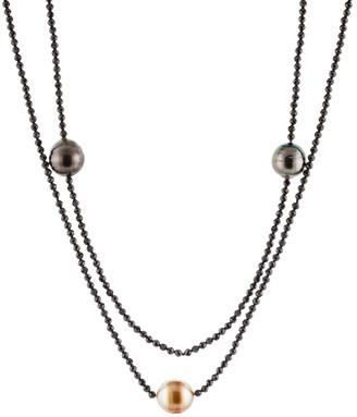 Splendid Pearls Spinel 11-12Mm Tahitian Pearl Necklace