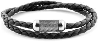 Tateossian Men's Double-Wrap Leather Bracelet, Size M