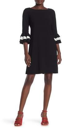 Gabby Skye Tiered Quarter Sleeve Crepe Dress
