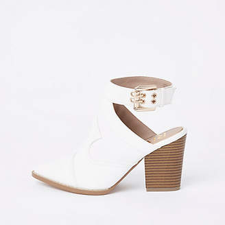 River Island Womens White western pointed shoe boot