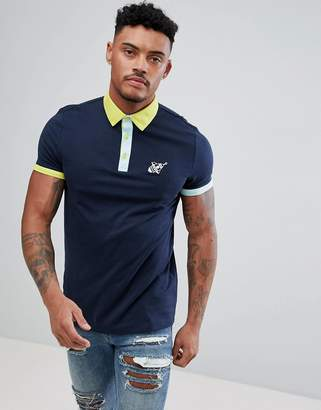 Asos Design Polo With Rocket Chest Embroidery