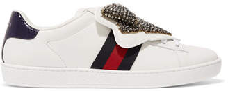 Gucci Ace Crystal-embellished Watersnake-trimmed Leather Sneakers - White
