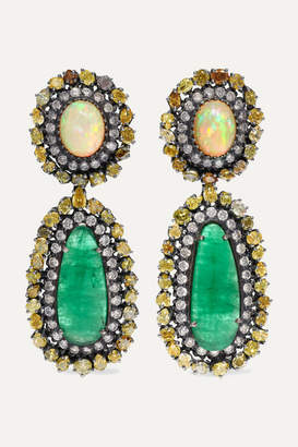 Amrapali 18-karat Gold Diamond, Emerald And Opal Earrings - one size