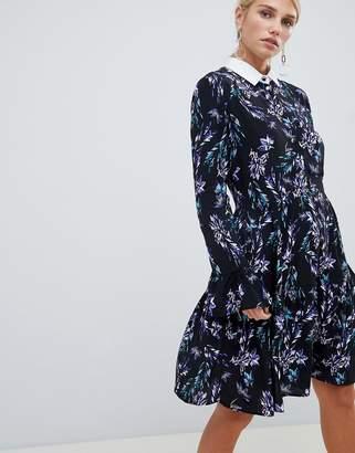 Closet London long sleeve printed skater dress with contrast collar