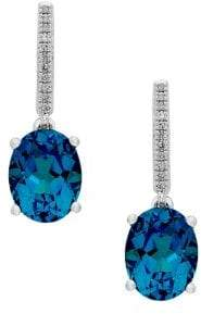Lord & Taylor Diamond, Blue Topaz and Sterling Silver Drop Earrings