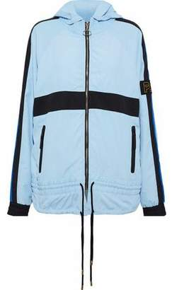 P.E Nation Man Down Stretch Knit-Paneled Printed Shell Hooded Jacket