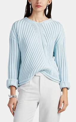 Nomia Women's Oversized Rib-Knit Cotton V-Neck Sweater - Light, Pastel blue
