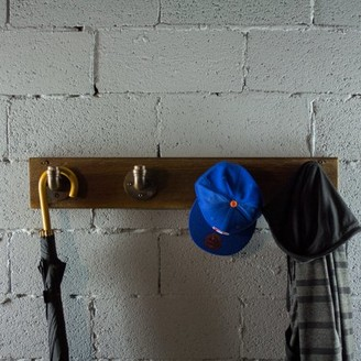 OS Home and Office Model PHR-RB Industrial wall mounted entryway hat coat rack with 4-hooks metal with reclaimed wood finish