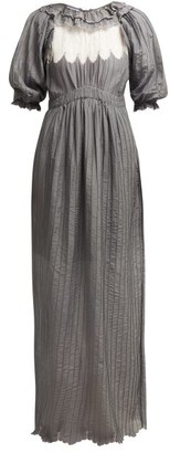Thierry Colson Daria Ruffle Trimmed Cotton Blend Maxi Dress - Womens - Grey White