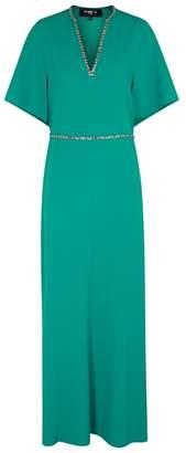 Paule Ka Turquoise Bead-embellished Gown