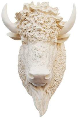White Faux Taxidermy Faux Bison Animal Head Wall Decor