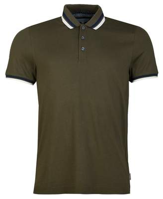 Ted Baker Contrast Tipped Polo Shirt Colour: KHAKI, Size: SMALL