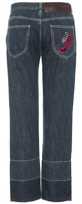 Loewe Embroidered high-waisted jeans