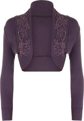 R KON Women's Beaded Long Sleeve Shrugs Sequin Bolero Short Crop Cardigan Top ML