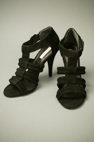 """Pour La Victoire Erica"""" Suede Sandal Heel - Black"""