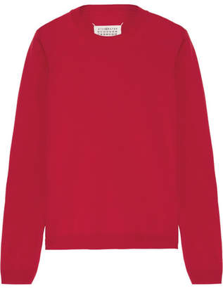 Maison Margiela - Suede-trimmed Wool Sweater - Red $495 thestylecure.com