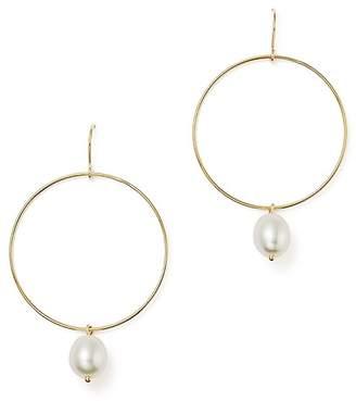 Bloomingdale's Hoop Drop Earrings with Cultured Freshwater Pearls in 14K Yellow Gold, 8mm