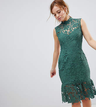 Paper Dolls Petite High Neck Lace Dress With Peplum Hem