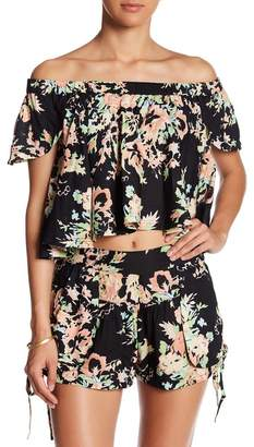 Raga Off-the-Shoulder Garden Party Crop Shirt