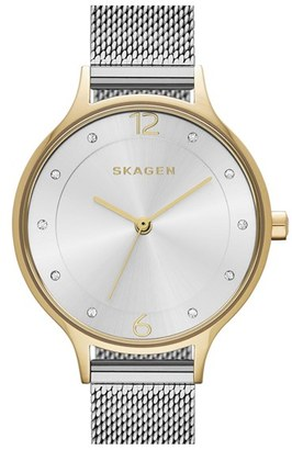 Women's Skagen 'Anita' Crystal Index Mesh Strap Watch, 30Mm $135 thestylecure.com