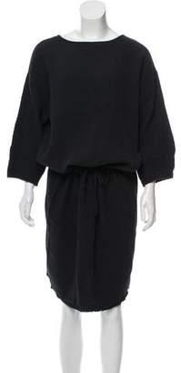 Black Crane Matelassé Midi Dress