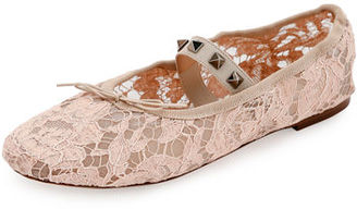 Valentino Rockstud Ballet Leather Ballerina Flat $545 thestylecure.com