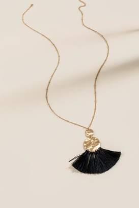 francesca's Delaney Double Coin Tassel Pendant Necklace - Black