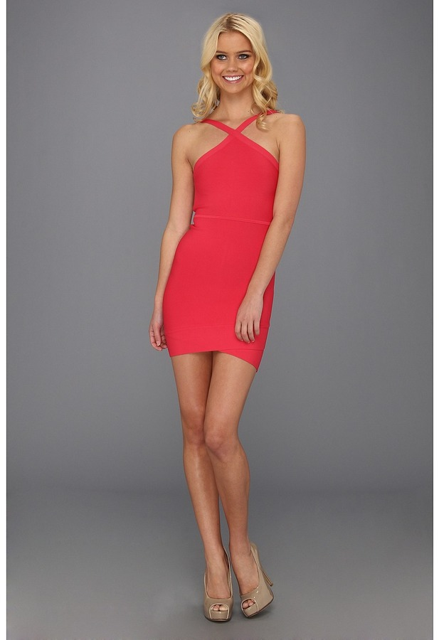 BCBGMAXAZRIA Sugi Crisscross Halter Dress (Lipstick Red) - Apparel