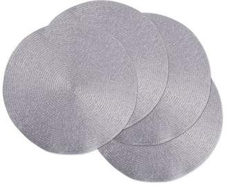 "Design Imports Round Woven Metallic Kitchen Placemat Set, Set of 4, 15"" Diameter, 100% Polypropylene, Multiple Colors"
